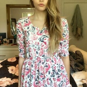 Abercrombie pink and white dress